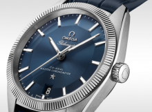 Replica Omega Co-Axial Master Chronometer Hard Metal Bezel On Dark Blue Leather Strap